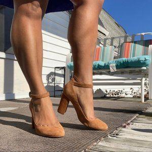 Marc Fisher tan suede block Mary Jane heels 7.5